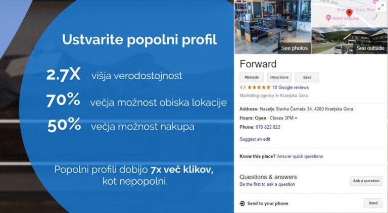 Izpolni svoj profil Google my Business