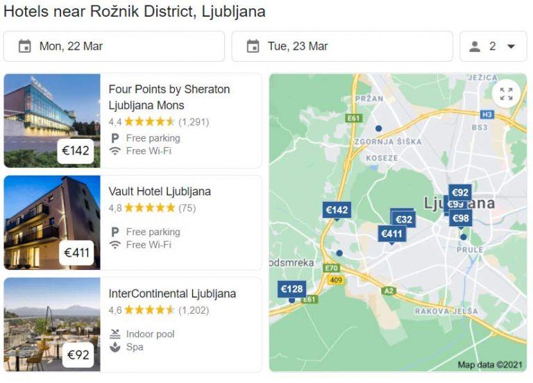 Google Hotel prices