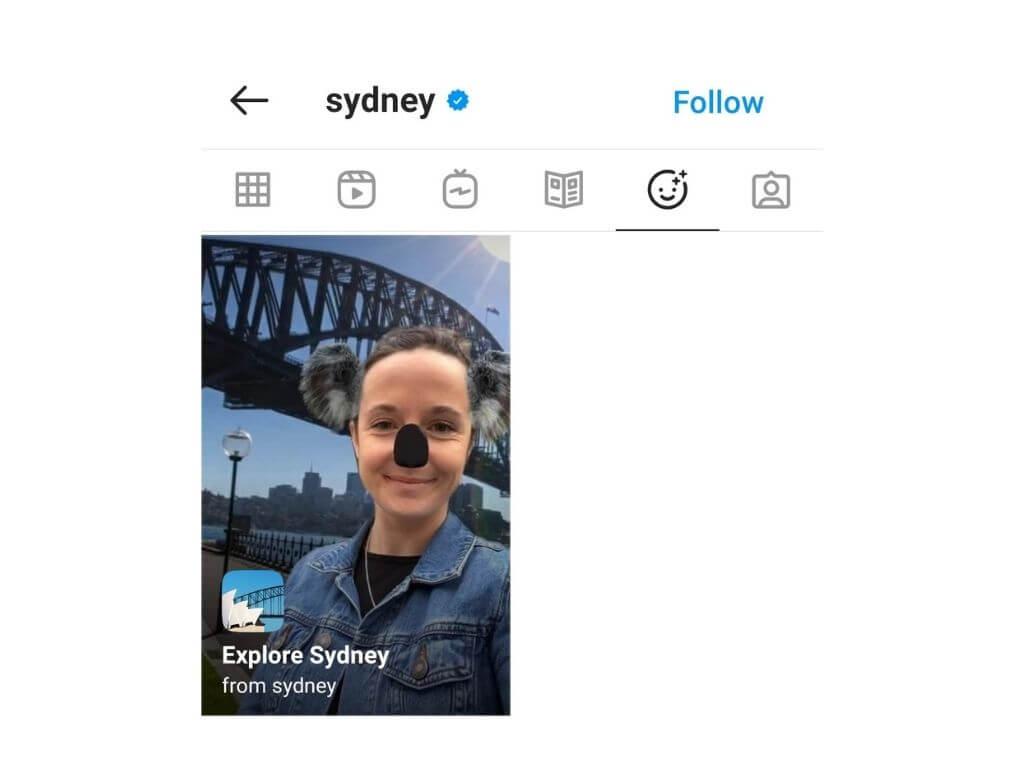 raziskuj destinacijo na Instagramu
